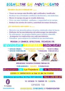 Cartel Bienestar en movimiento para La Tejedora Sept 2015